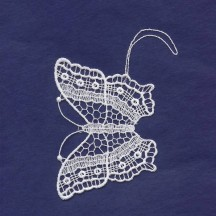White Lace Butterfly Ornament ~ 3-1/4""