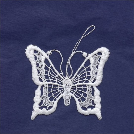 White Lace Classic Butterfly Ornament ~ 3-1/4""