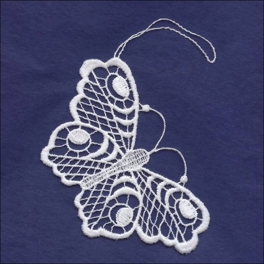White Lace Butterfly Ornament ~ 4""