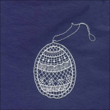 Petite White Lace Geometric Easter Egg Ornament ~ 2-5/8""