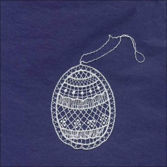 """Petite White Lace Geometric Easter Egg Ornament ~ 2-5/8"""""""