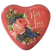 """Large """"With Love"""" Heart Shaped Valentine Roses Tin ~ 6-5/8"""" across"""