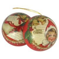 "Red Snow Baby with Bells Metal Christmas Ball Ornament or Gift Tin ~ 2-3/4"" across"