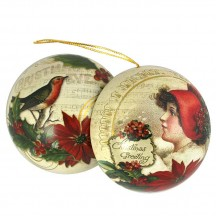 "Lady and Robin Metal Christmas Ball Ornament or Gift Tin ~ 2-3/4"" across"