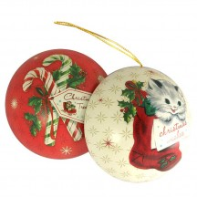"Kitten with Candy Canes Metal Christmas Ball Ornament or Gift Tin ~ 2-3/4"" across"