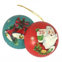 "Santa with Bells Metal Christmas Ball Ornament or Gift Tin ~ 2-3/4"" across"