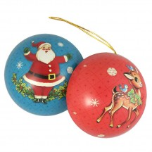"Santa with Reindeer Metal Christmas Ball Ornament or Gift Tin ~ 2-3/4"" across"
