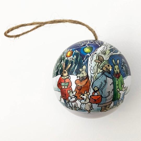 """Metal Christmas Ball Ornament or Gift Tin ~ 2-3/4"""" across ~ SNOWY ANIMAL BAND"""