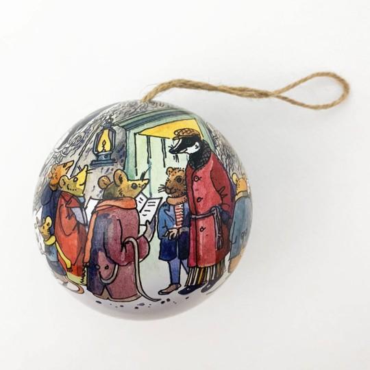 """Metal Christmas Ball Ornament or Gift Tin ~ 2-3/4"""" across ~ MOUSE CAROLERS"""