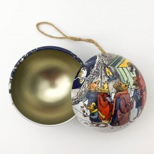 "Metal Christmas Ball Ornament or Gift Tin ~ 2-3/4"" across ~ MOUSE CAROLERS"