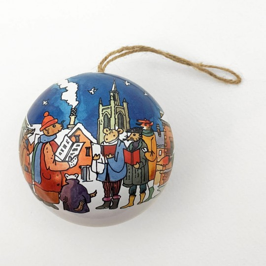 "Metal Christmas Ball Ornament or Gift Tin ~ 2-3/4"" across ~ VILLAGE CAROLERS"