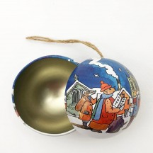 """Metal Christmas Ball Ornament or Gift Tin ~ 2-3/4"""" across ~ VILLAGE CAROLERS"""