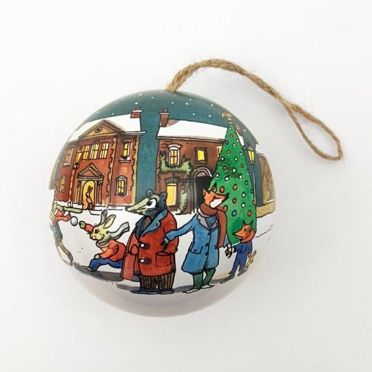 """Metal Christmas Ball Ornament or Gift Tin ~ 2-3/4"""" across ~ BLUE AUTO"""