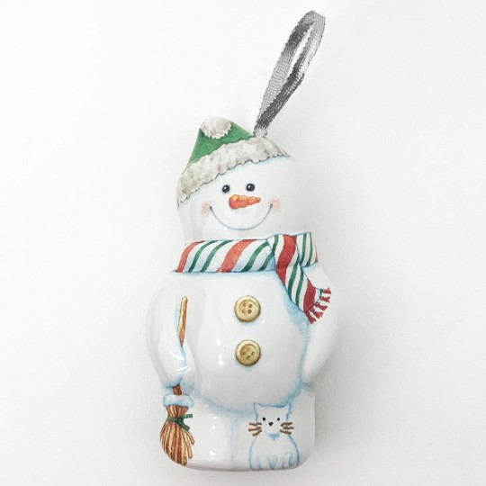 "Metal Snowman Ornament or Gift Tin ~ 4-3/4"" tall"