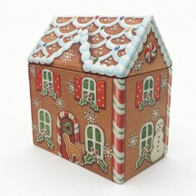 "Metal Gingerbread House Gift Tin ~ 3-5/8"" tall"