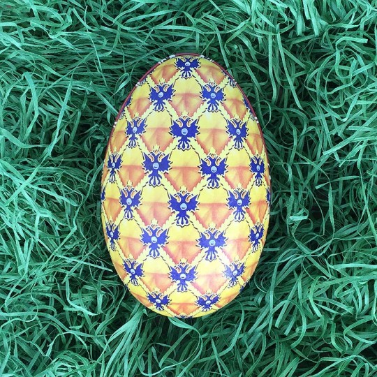 "Yellow Griffin Faberge Egg Metal Easter Tin ~ 4-1/4"" tall ~ Old Store Stock"