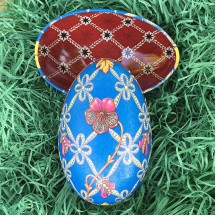 "Blue Geometric Flower Faberge Egg Metal Easter Tin ~ 4-1/4"" tall ~ Old Store Stock"