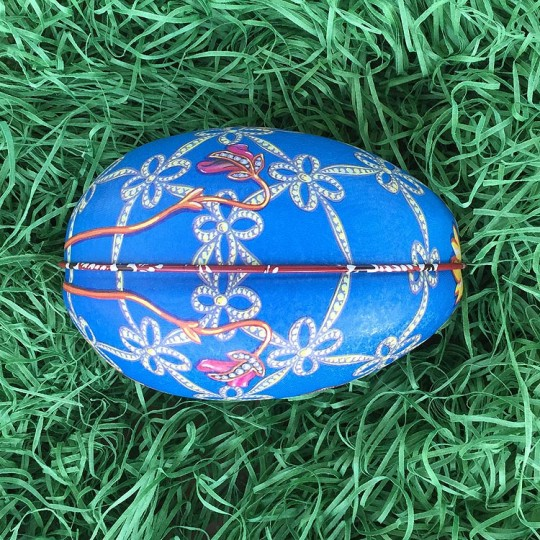 """Blue Geometric Flower Faberge Egg Metal Easter Tin ~ 4-1/4"""" tall ~ Old Store Stock"""