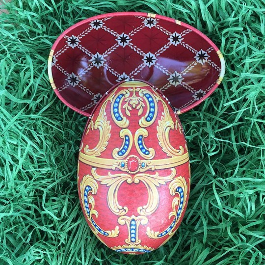 "Red Cartouche Faberge Egg Metal Easter Tin ~ 4-1/4"" tall ~ Old Store Stock"