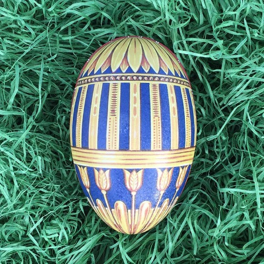 "Yellow and Blue Geometric Tulip Faberge Egg Metal Easter Tin ~ 4-1/4"" tall ~ Old Store Stock"
