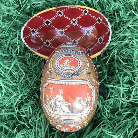 """Ancient World Faberge Egg Metal Easter Tin ~ 4-1/4"""" tall ~ Old Store Stock"""