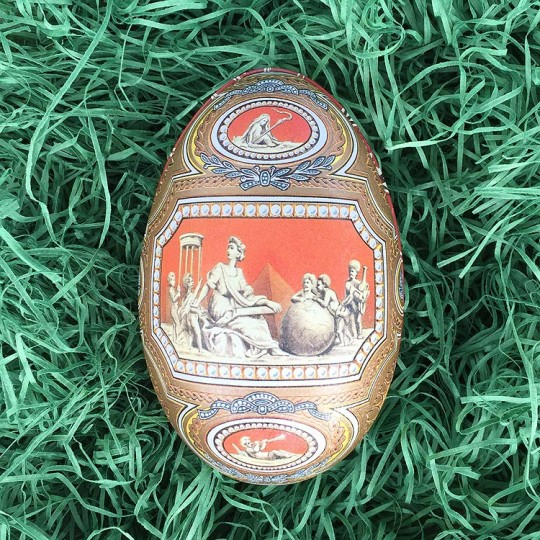 "Ancient World Faberge Egg Metal Easter Tin ~ 4-1/4"" tall ~ Old Store Stock"