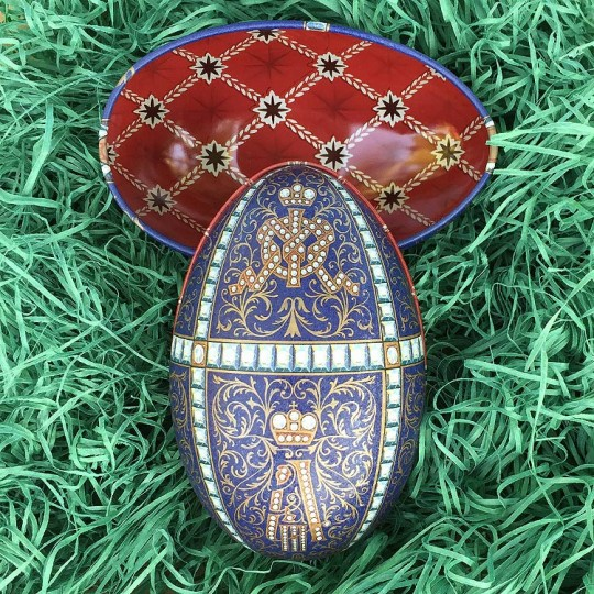 """Fancy Blue Flourish Faberge Egg Metal Easter Tin ~ 4-1/4"""" tall ~ Old Store Stock"""