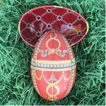 "Red Swags Faberge Egg Metal Easter Tin ~ 4-1/4"" tall ~ Old Store Stock"