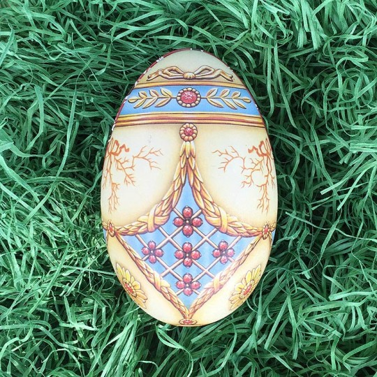 "Pastel Trompe-l'œil Faberge Egg Metal Easter Tin ~ 4-1/4"" tall ~ Old Store Stock"