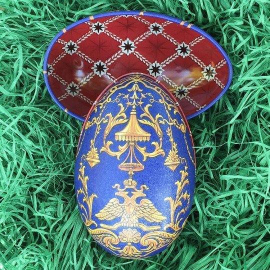 """Regal Blue Griffin Faberge Egg Metal Easter Tin ~ 4-1/4"""" tall ~ Old Store Stock"""
