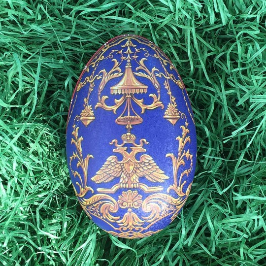 "Regal Blue Griffin Faberge Egg Metal Easter Tin ~ 4-1/4"" tall ~ Old Store Stock"