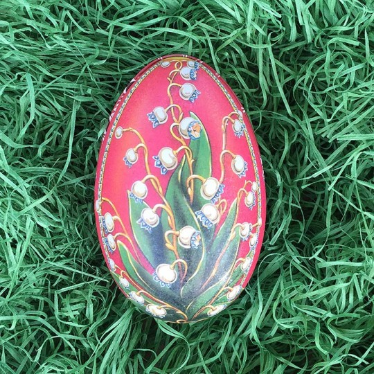 "Lily of the Valley Red Faberge Egg Metal Easter Tin ~ 4-1/4"" tall ~ Old Store Stock"