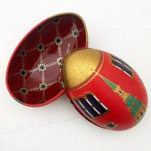 "Red Tower Faberge Egg Metal Easter Tin ~ 4-1/4"" tall"