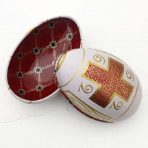 "White Cross Garlands Faberge Egg Metal Easter Tin ~ 4-1/4"" tall"