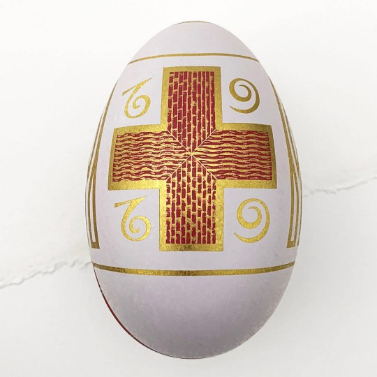"""White Cross Garlands Faberge Egg Metal Easter Tin ~ 4-1/4"""" tall"""