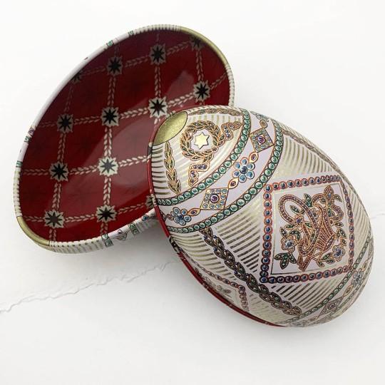 "Fancy Flower Basket Faberge Egg Metal Easter Tin ~ 4-1/4"" tall"