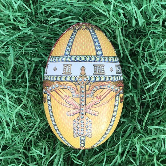 "Fancy Regal Yellow Faberge Egg Metal Easter Tin ~ 4-1/4"" tall ~ Old Store Stock"