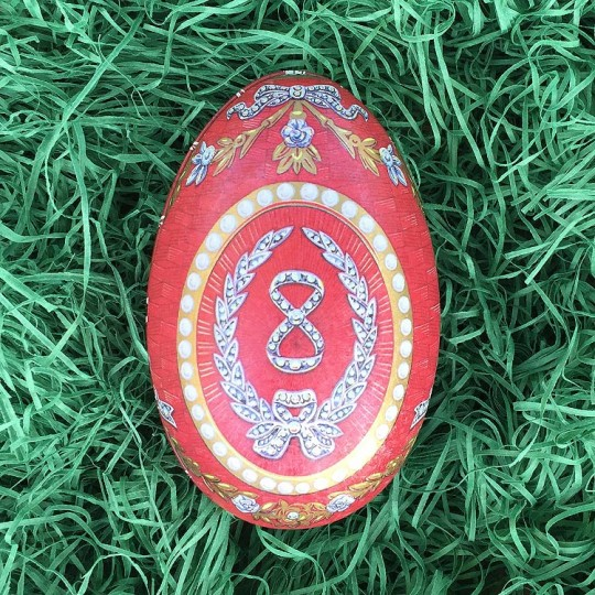 "Regal Red Garlands Faberge Egg Metal Easter Tin ~ 4-1/4"" tall ~ Old Store Stock"