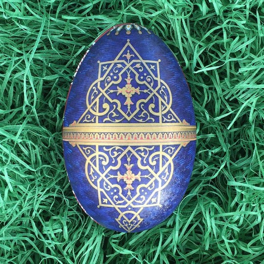 """Regal Golden Medallion Faberge Egg Metal Easter Tin ~ 4-1/4"""" tall ~ Old Store Stock"""