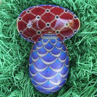 "Blue Jeweled Scallop Faberge Egg Metal Easter Tin ~ 4-1/4"" tall ~ Old Store Stock"