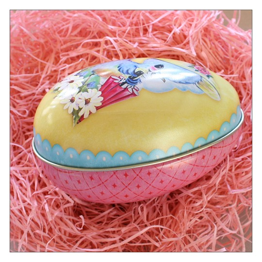 "Yellow Chick and Flowers Metal Easter Egg Tin ~ 4-1/4"" tall"
