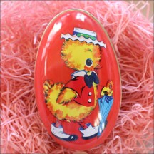 "Orange Dapper Chick Metal Easter Egg Tin ~ 4-1/4"" tall"