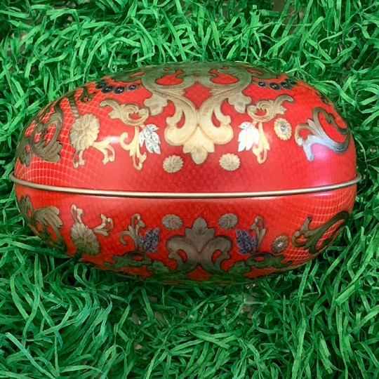 """Red Russian Metal Easter Egg Tin ~ 4-1/4"""" tall"""