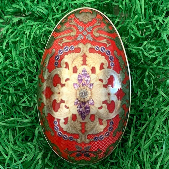 "Red Russian Metal Easter Egg Tin ~ 4-1/4"" tall"