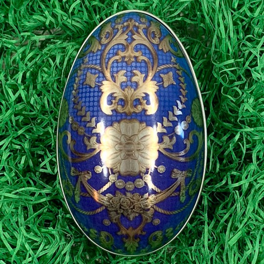 "Blue Russian Metal Easter Egg Tin ~ 4-1/4"" tall"