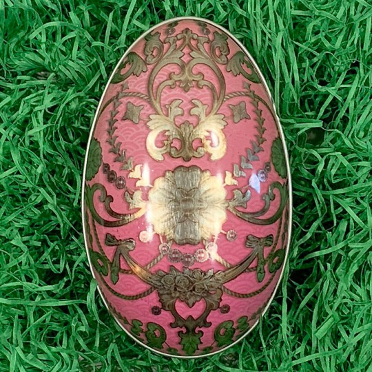 "Pink Russian Metal Easter Egg Tin ~ 4-1/4"" tall"