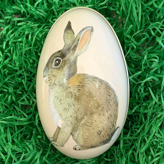 "Bunny Metal Easter Egg Tin ~ 4-1/4"" tall"