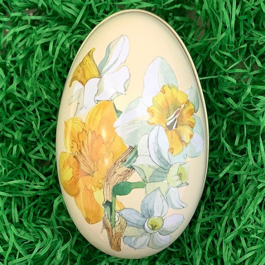 "Daffodils Metal Easter Egg Tin ~ 4-1/4"" tall"