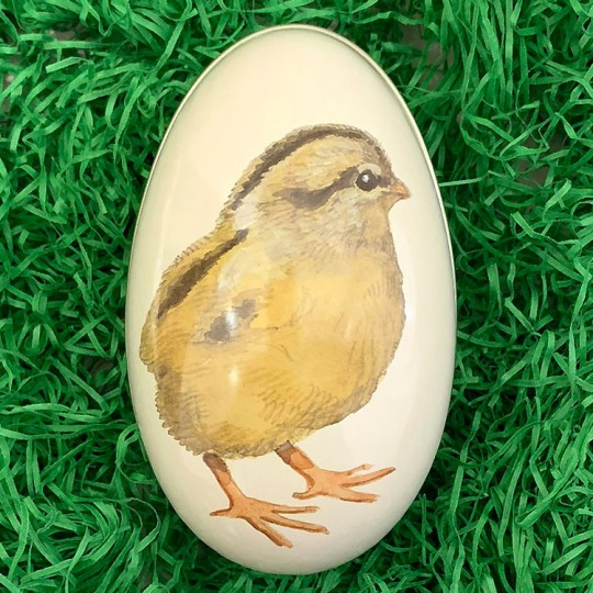 "Chick Metal Easter Egg Tin ~ 4-1/4"" tall"