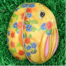 "Yellow Bunny and Flowers Metal Easter Egg Tin ~ 4-1/4"" tall"
